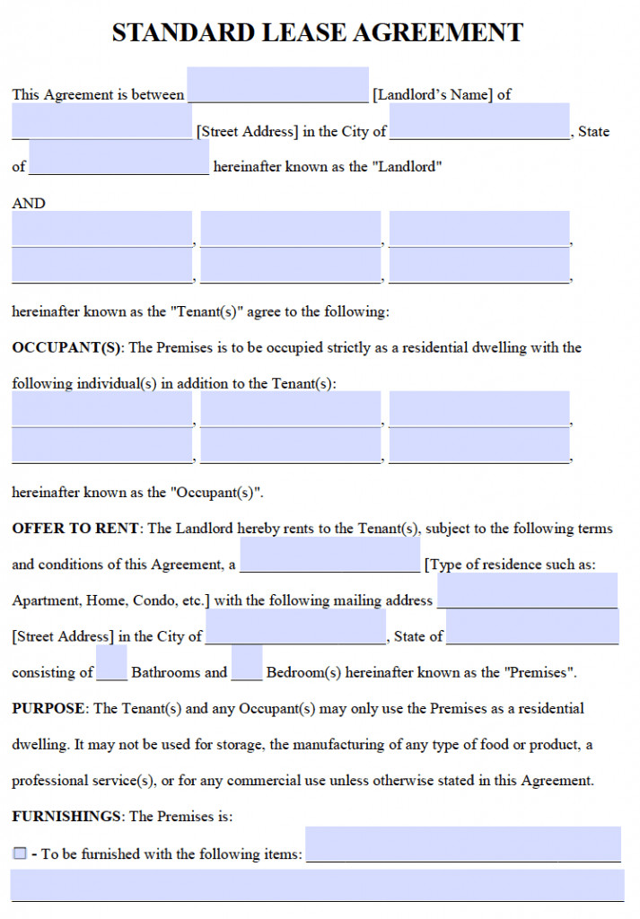 Lease Agreement Template Pdf Free Residential Lease Agreements – Pdf and Word Templates