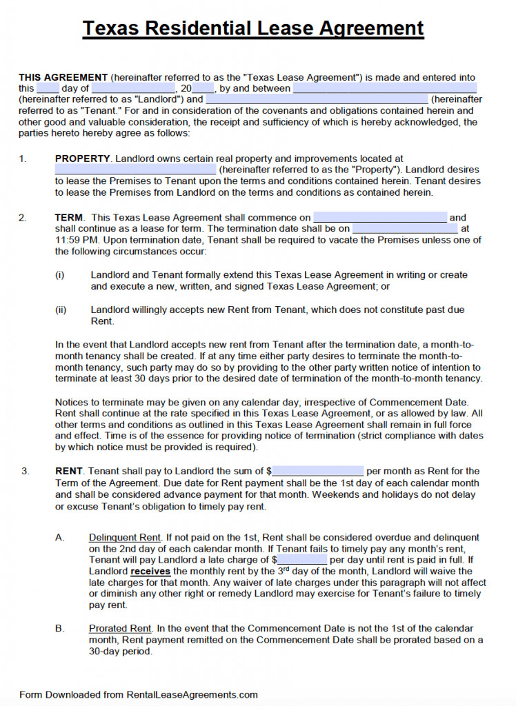 Lease Agreement Template Pdf Free Texas Standard Residential Lease Agreement Template