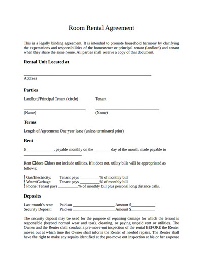 Lease Agreement Template Pdf Room Rental Agreement Template Free Download Create