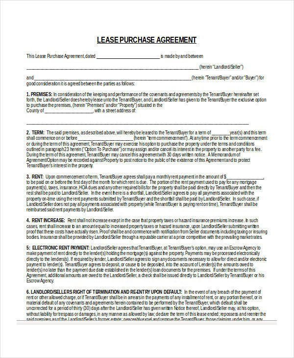 Lease Purchase Agreement form 24 Lease Agreement forms In Doc