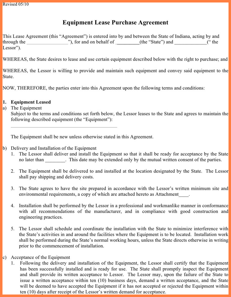 Lease Purchase Agreement form 6 Equipment Lease Purchase Agreement form