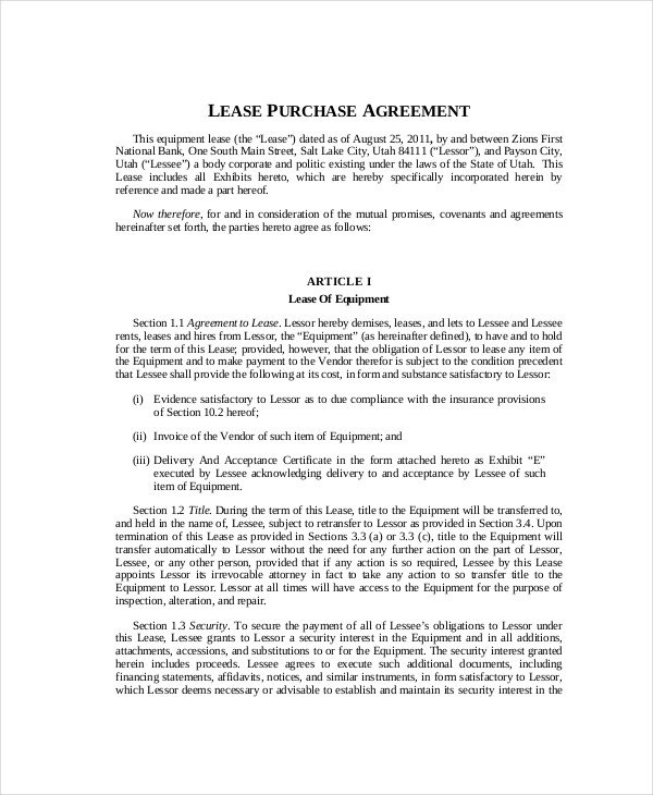 Lease Purchase Agreement form 9 Lease Purchase Agreement Word Pdf Google Docs