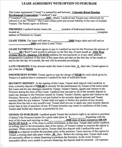 Lease Purchase Agreement form Home Lease Agreement 8 Free Documents In Word Pdf