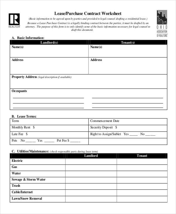 Lease Purchase Agreement form Lease Contract form 9 Free Word Pdf Documents Download