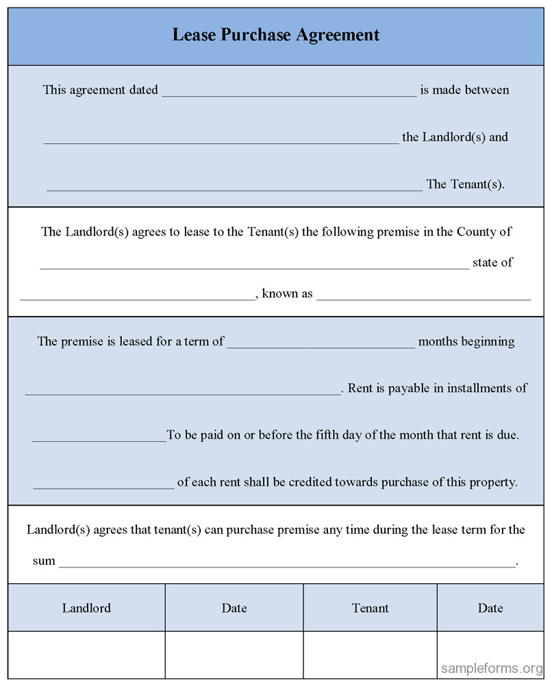 Lease Purchase Agreement form Lease Purchase Agreement form Sample forms