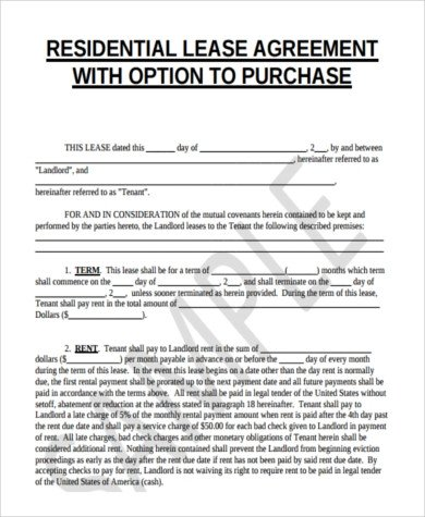Lease Purchase Agreement form Sample Lease to Purchase form 8 Free Documents In Word Pdf