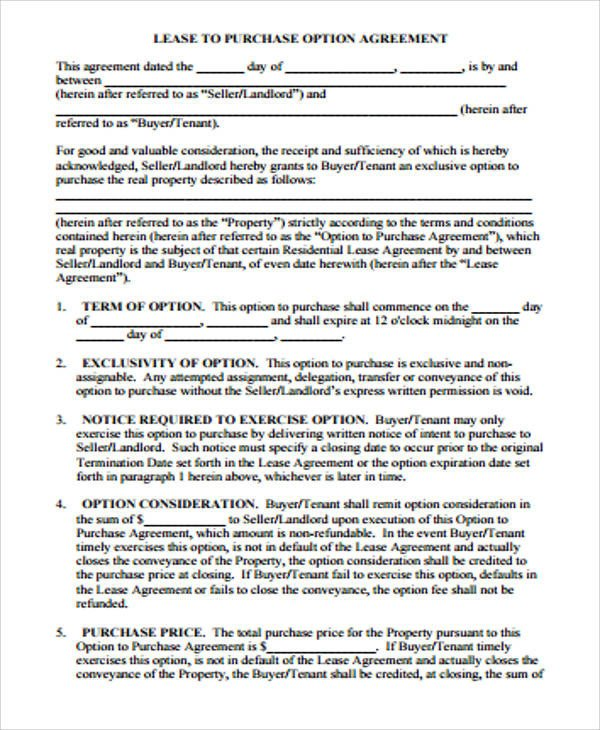 Lease Purchase Agreement form Sample Purchase Agreement Contract 9 Examples In Word