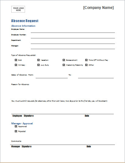 Leave Of Absence form Template Employee Absence Request form Template for Word