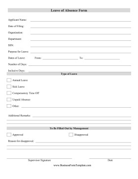Leave Of Absence form Template Leave Absence form Template