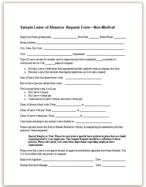 Leave Of Absence form Template This Sample form for Employee Leave Of Absence Requests