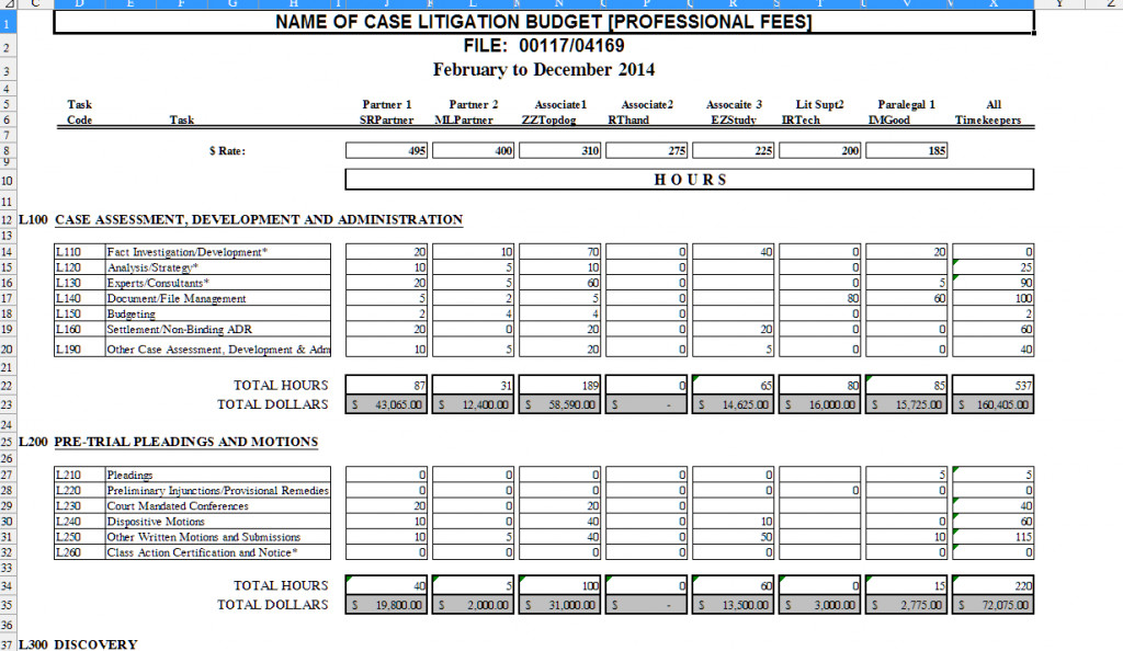 Legal Case Management Excel Template the Lawyer S tool Box Litigation Task Based Bud Excel