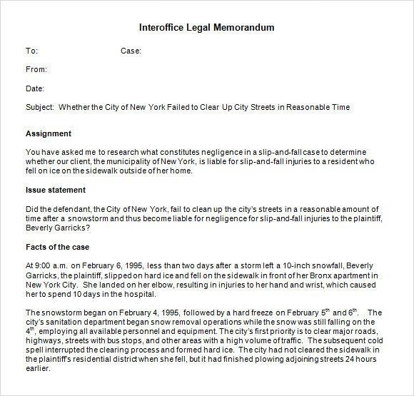 Legal Memorandum Template Word 6 Sample Interoffice Memo Templates to Download
