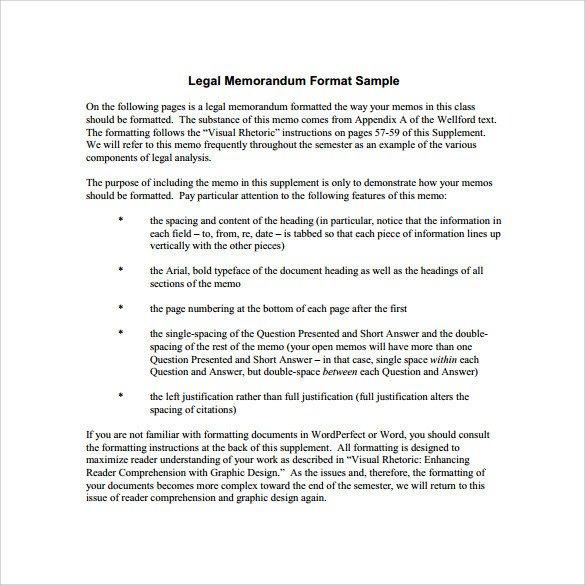 Legal Memorandum Template Word Sample Legal Memo Template 11 Documents In Pdf Google