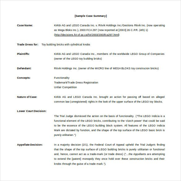 Legal Templates for Word Case Brief Template