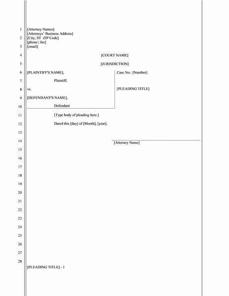 Legal Templates for Word Legal Pleading Paper 28 Lines Template Templates
