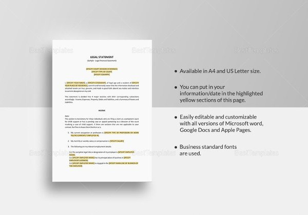 Legal Templates for Word Legal Statement Template 11 Free Word Pdf Document