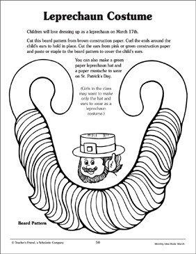 Leprechaun Beard Template Leprechaun Costume Pattern