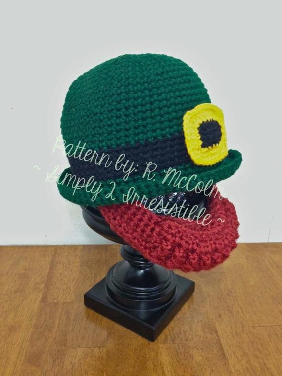 Leprechaun Hat and Beard Template Irish Bowler and Beard Leprechaun Hat Crochet Pattern 69