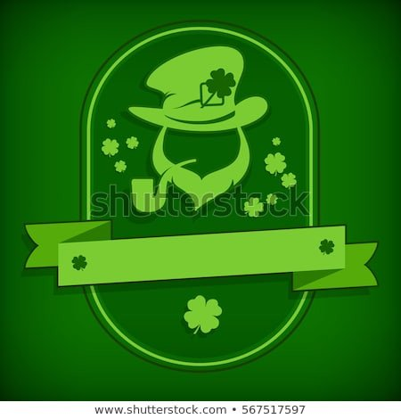Leprechaun Hat and Beard Template Irish Leprechaun Circle Logo Grange Greeting Stock Vector