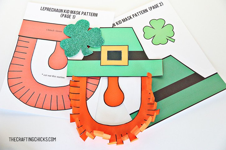 Leprechaun Hat and Beard Template Leprechaun Mask Printable the Crafting Chicks