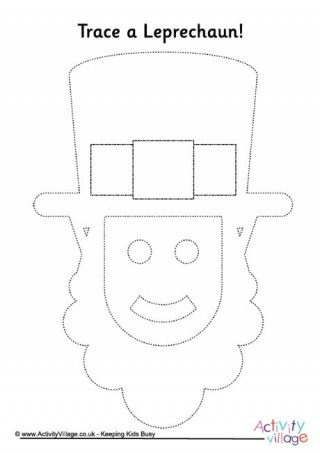 Leprechaun Hat and Beard Template Pot Of Gold Tracing Page