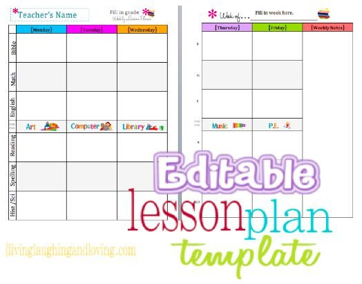 Lesson Plan Book Template Printable Cute Lesson Plan Template… Free Editable Download