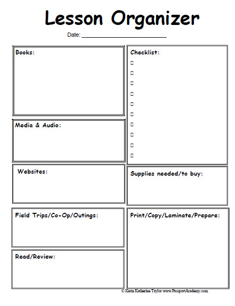 Lesson Plan Book Template Printable Homeschool Lesson Planner Pages