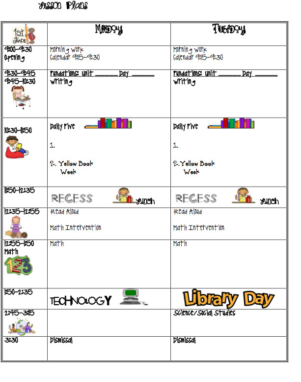 Lesson Plan Book Template Printable Lesson Plans I Love 1st Grade