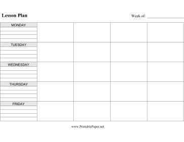Lesson Plan Book Template Printable Printable Lesson Plan Horizontal
