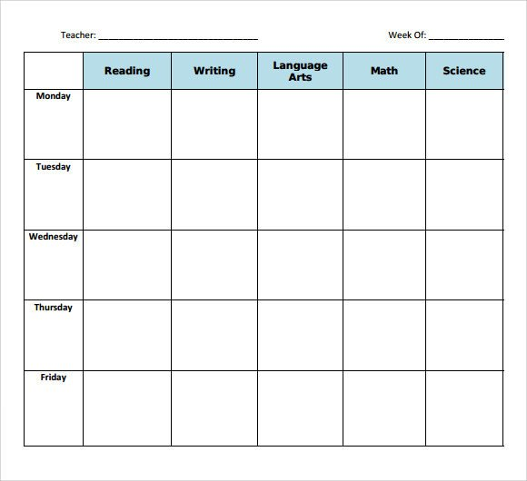 Lesson Plan Book Template Printable Sample Blank Lesson Plan 10 Documents In Pdf