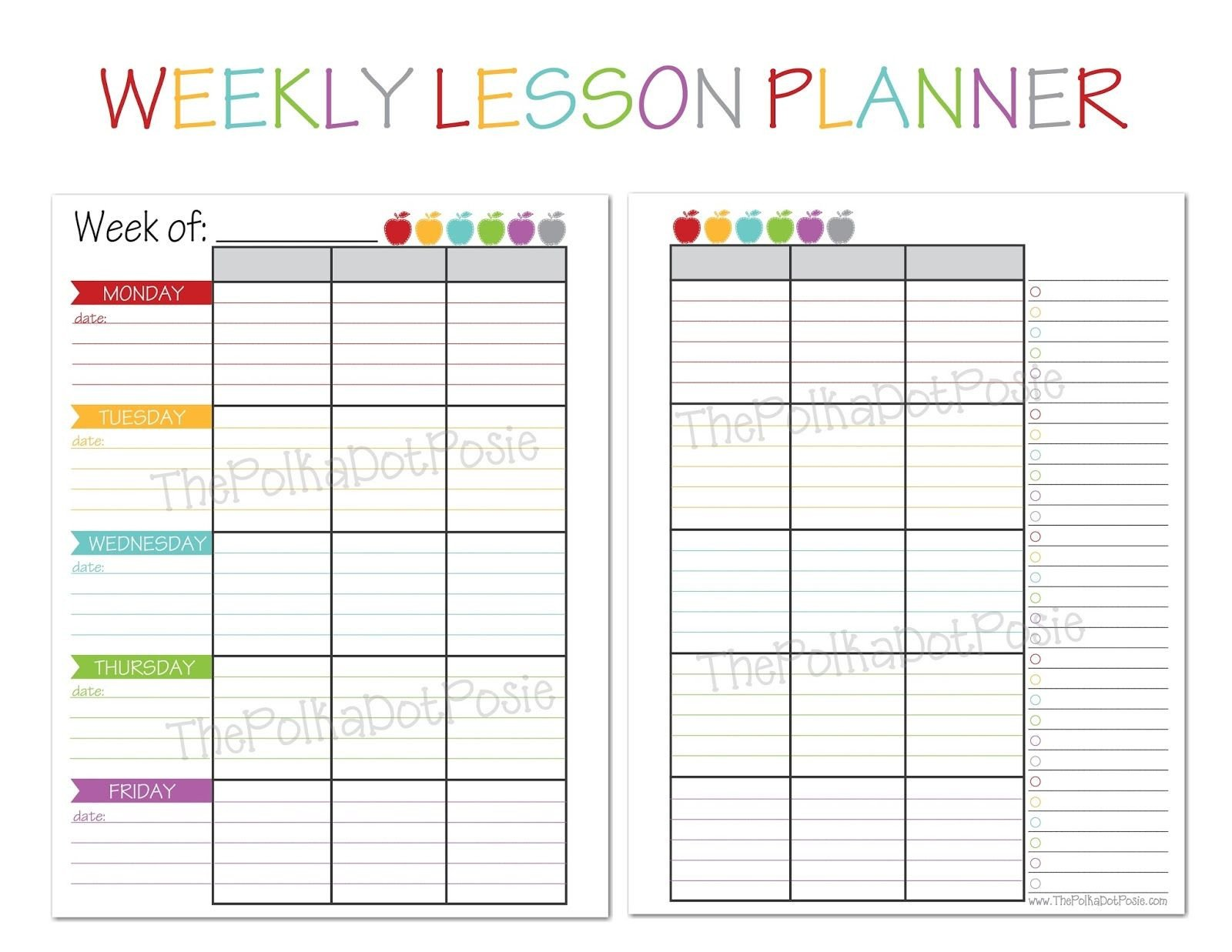 Lesson Plan Book Template Printable the Polka Dot Posie New Teacher & Homeschool Planners
