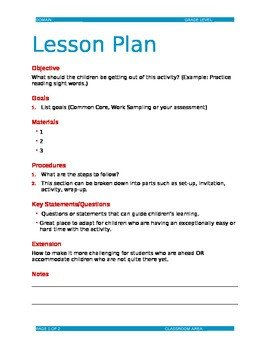 Lesson Plan Template Doc Editable Lesson Plan Template C by Dorothy