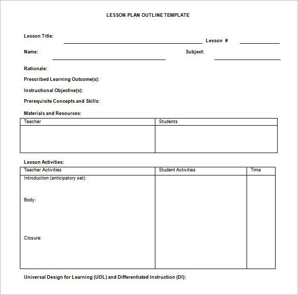 Lesson Plan Template Doc Lesson Plan Outline Template 10 Free Free Word Pdf