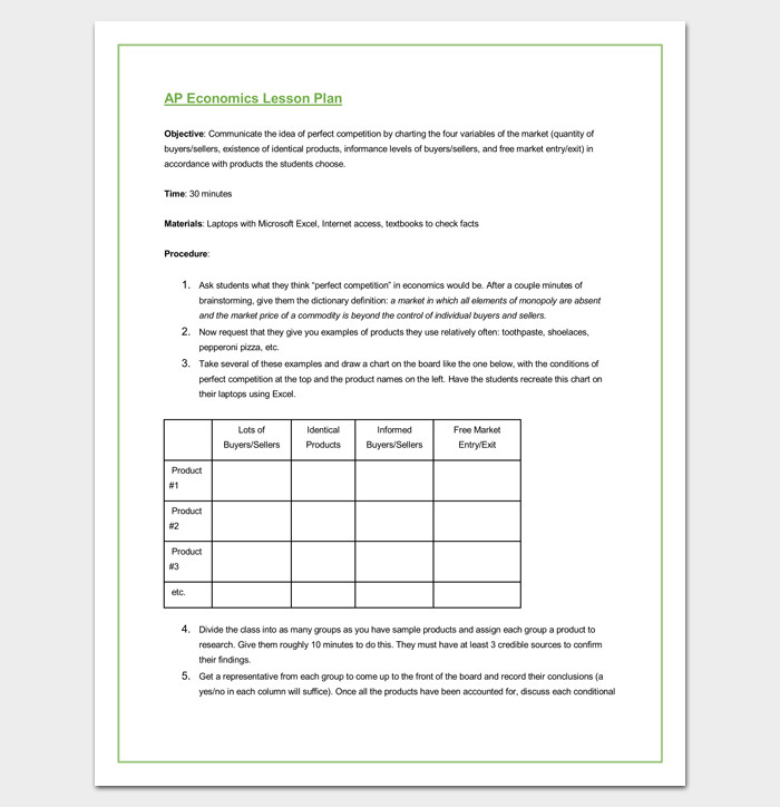 Lesson Plan Template Doc Lesson Plan Outline Template 23 Examples formats and
