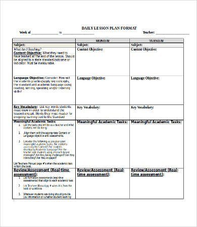 Lesson Plan Template Doc Lesson Plan Template Doc 16 Free Word Documents