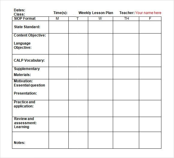Lesson Plan Template Doc Sample Weekly Lesson Plan 7 Documents In Word Excel Pdf