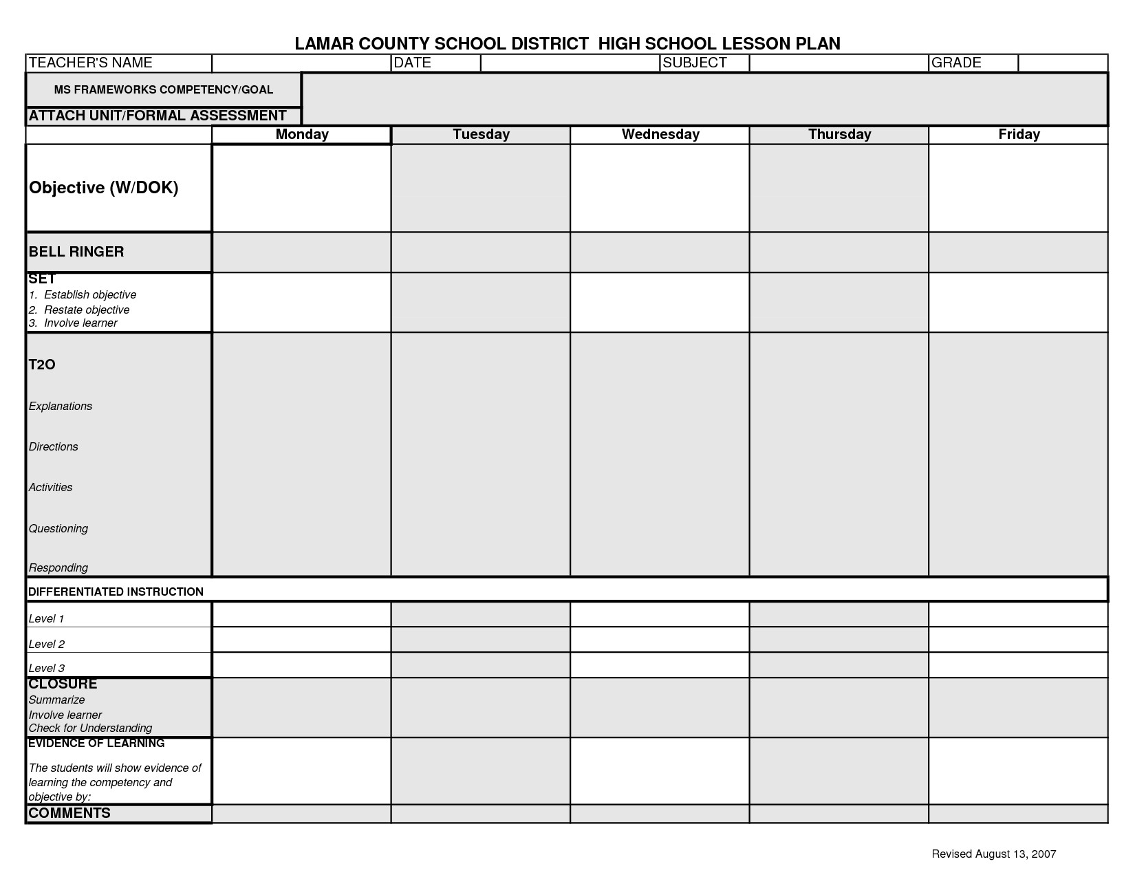 Lesson Plan Template High School Lcsd High School Lesson Plan Template