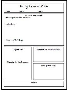 Lesson Plan Template High School Lesson & Unit Plan Templates for Middle or High School