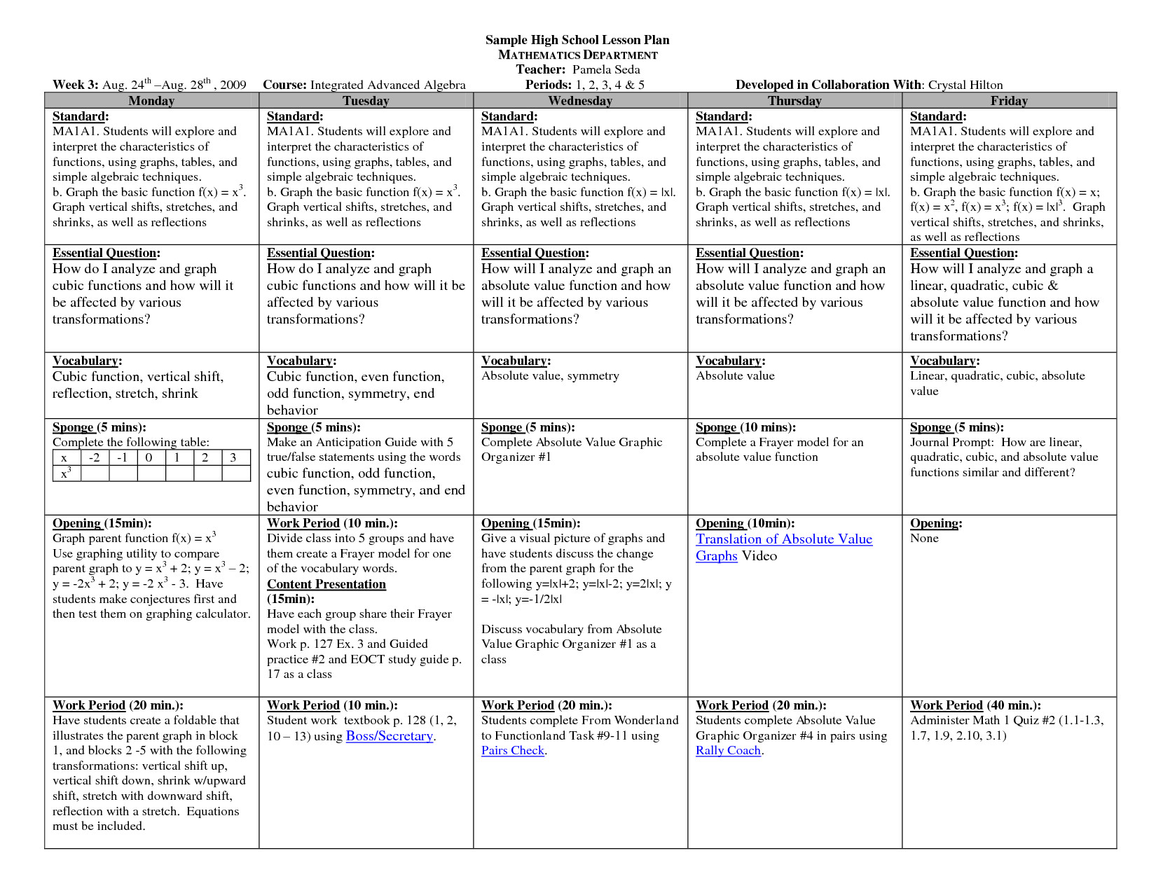 Lesson Plan Template High School Math Lesson Plan Template High Schoolsample Hs Math Weekly