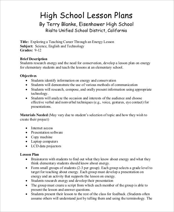 Lesson Plan Template High School Sample Lesson Plan 9 Examples In Word Pdf
