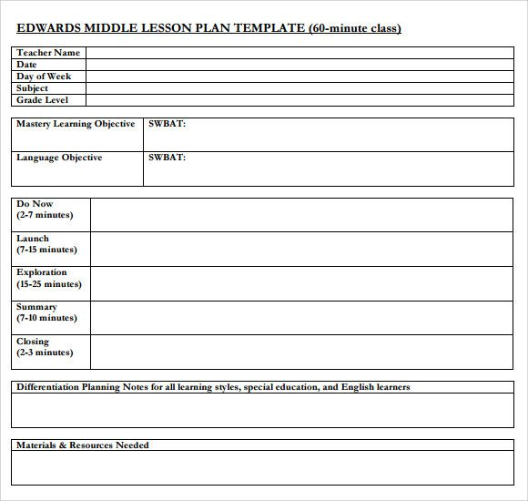 Lesson Plan Template High School Sample Middle School Lesson Plan Template 7 Free