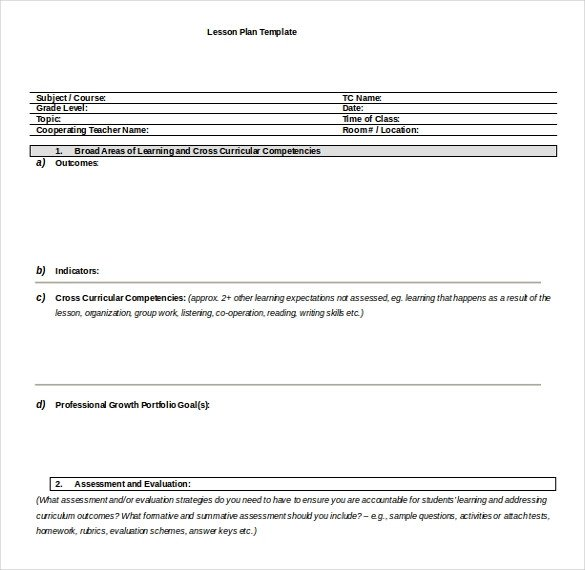 Lesson Plan Template Word 18 Microsoft Word Lesson Plan Templates