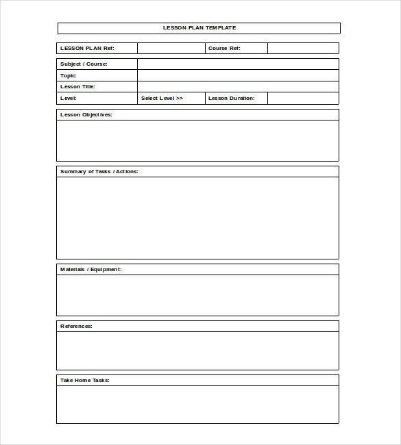 Lesson Plan Template Word Blank Lesson Plan Template – 15 Free Pdf Excel Word