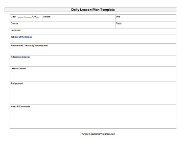Lesson Plan Template Word Daily Lesson Plan Template