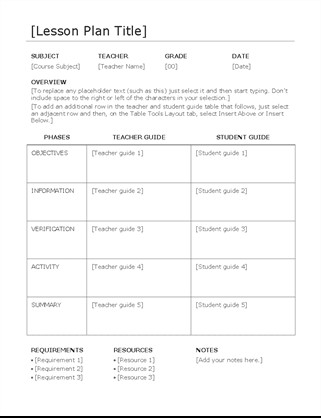 Lesson Plan Template Word Lesson Plan