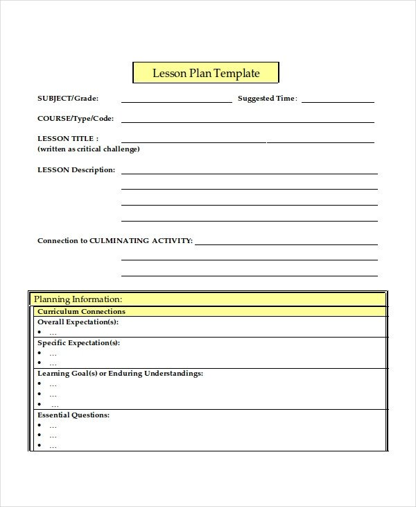 Lesson Plan Template Word Lesson Plan Template 17 Free Word Pdf Document