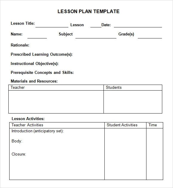 Lesson Plan Template Word Sample Weekly Lesson Plan 7 Documents In Word Excel Pdf