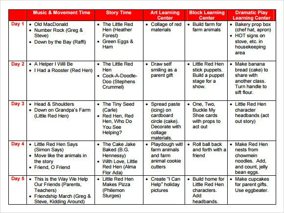 Lesson Plan Templates Preschool Sample Preschool Lesson Plan 10 Pdf Word formats