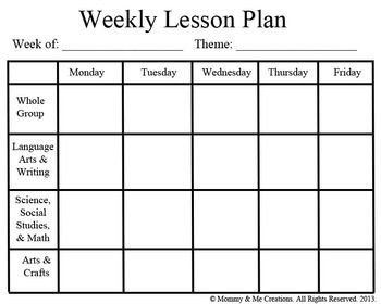 Lesson Plan Templates Preschool Weekly Preschool Lesson Plan Template Pre K