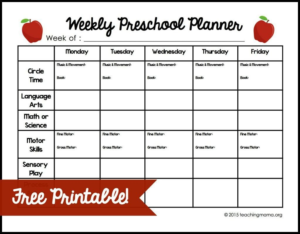 Lesson Plan Templates Preschool Weekly Preschool Planner